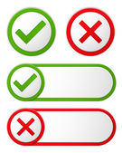 Check and Cross Symbols — Stock Vector