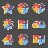 Objetos de quebra-cabeça — Vetorial Stock