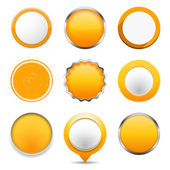 Yellow Round Buttons — Stock Vector