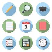 Icônes de plat de l'éducation — Vecteur