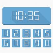 Digital Numbers and Clock — Stock Vector