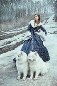 The woman on winter walk with a dog — Stock Photo