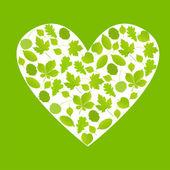 Зеленые листья сердца символ Векторный фон экологии — Cтоковый вектор