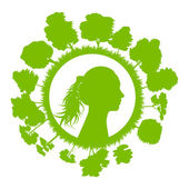 Woman head with tree green ecology concept background — Stock Vector
