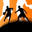 Basketball players active sport silhouettes vector background il — Stockvektor  #58656771