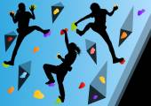 Children rock climber sport athletes climbing wall in abstract s — Stock vektor