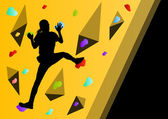 Children rock climber sport athletes climbing wall in abstract s — 图库矢量图片