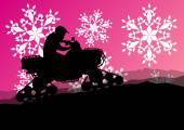 Snowmobile all terrain quad motorbike vehicle rider in wild natu — Stock Vector