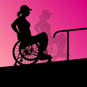 Active disabled young woman in a wheelchair detailed health care — Stock Vector