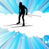 Cross country skiing vector background with white color splashes — Stock Vector