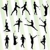 Rhythmic art gymnastics woman with clubs vector background — Stock Vector