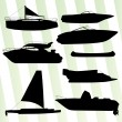 Yachts, boast silhouettes set vector background — Stock Vector #62987045