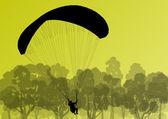 Paragliding active sport background landscape concept vector — Stock Vector
