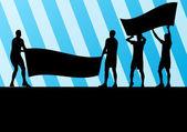 протестующие сердитые люди толпятся плакатами и флагами в резюме — Cтоковый вектор