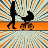 Dad with baby carriage vector background concept — Stock Vector