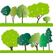 Forest trees silhouettes illustration collection background vect — Stock Vector