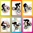 Extreme cyclists bicycle riders active children sport silhouette — Stock Vector #65180425