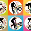 Extreme cyclists bicycle riders active children sport silhouette — Stock Vector #65180475