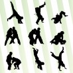 Judo fight boy set vector background concept — Stock Vector #65180789