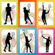 Tennis players silhouettes set vector background concept — Stock Vector #65185131