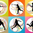 Tennis players silhouettes set vector background concept — Stock Vector #65185253