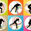 Athletic woman shot put vector background — Stock Vector #65188487