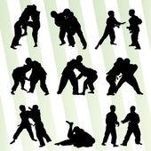 Judo fight boy set vector background concept — Vector de stock