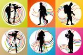 Cameramen and camcorder video operator set vector background — Stock Vector