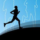 Active runner sport athletics running silhouettes illustration b — Stock Vector