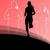 Active runner sport athletics running silhouettes illustration b — Vector de stock