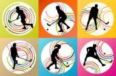 Floorball player vector background set concept — Stockvektor