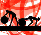 Woman on fitness ball exercises vector background — Vector de stock