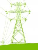 High voltage power transmission tower line green ecology energy — Stock Vector