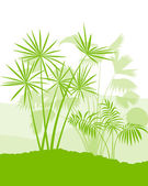 Palm tree landscape ecology environment green concept background — Stock Vector