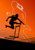 Active women girl sport athletics hurdles barrier running silhou — Stock Vector