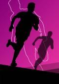 Active young men sport athletics hurdles barrier running silhoue — Stock Vector