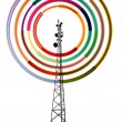 Antenna transmission communication tower vector background — Stock Vector #71426677