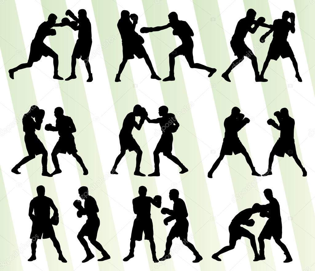 boxing active young men box sport silhouettes set background ill stock vector 71426649. Black Bedroom Furniture Sets. Home Design Ideas