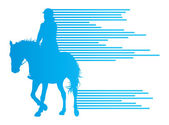 Horse riding equestrian sport with horse and rider vector backgr — Stock Vector