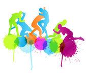 Greek roman wrestling active men sport silhouettes vector abstra — Stock Vector