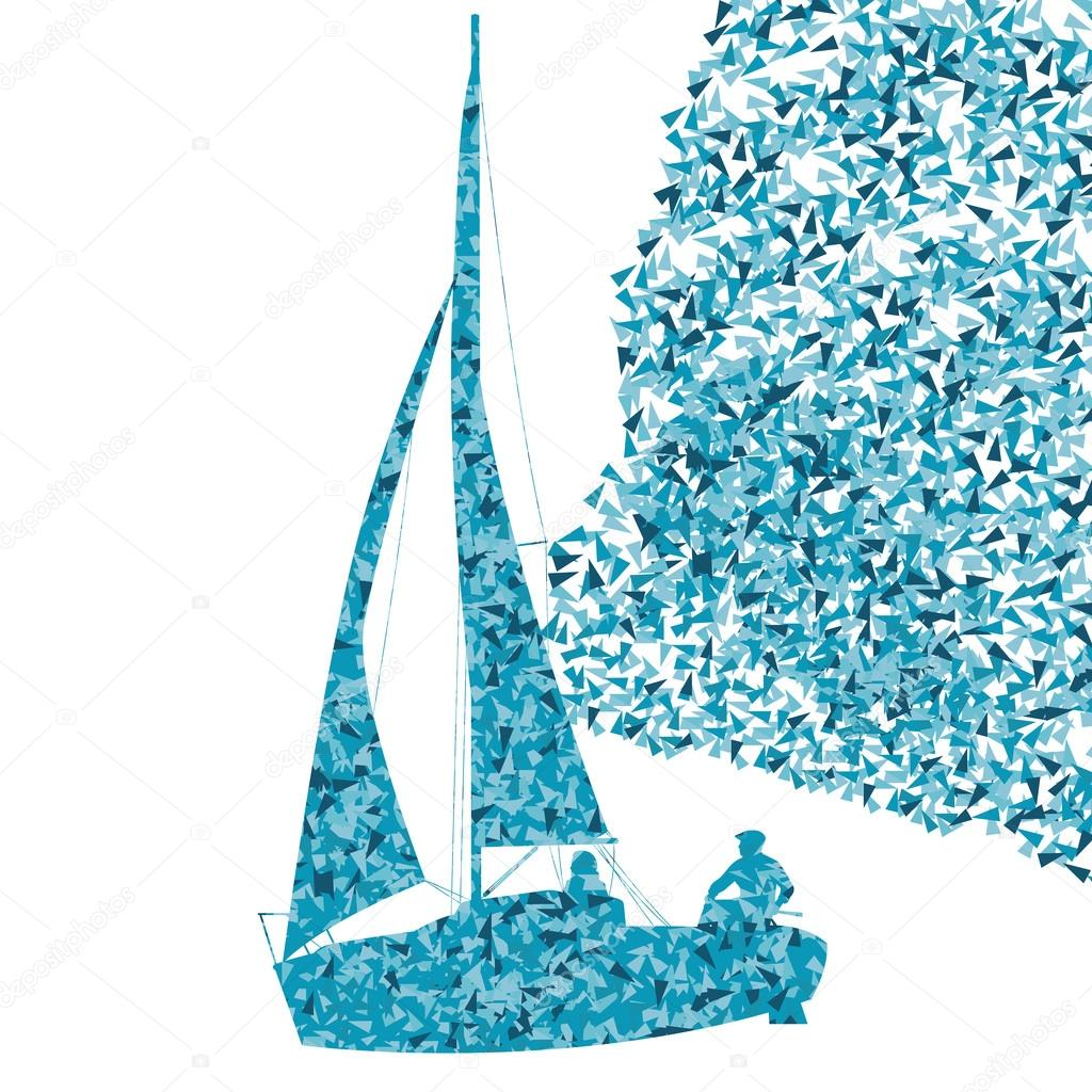 Sailing yacht, boat ship vector background concept made of fragm — Stock Vector #80486664