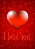 I Love You - Valentine Heart Card — Stock Vector