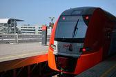 "The train standing at the railway station ""Olimpiyskiy park"" — Stock Photo"