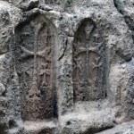 The carved crosses in Geghard monastery, Armenia — Stock Photo #53995523