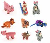 Set of plasticine craft figures made by che child — Stock Photo