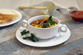 Vegetable stew with potato in a bowl — Stock Photo
