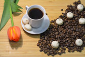 Coffee beans, cup of coffee, small pastry and a tulip — Stock Photo