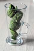 Vysoká sklenice s zmrazený špenát kostky — Stock fotografie