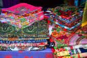 Heap of traditional Russian kerchiefs — Stock Photo