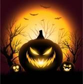 Creepy Halloween pumkin face copyspace background — Stock Vector